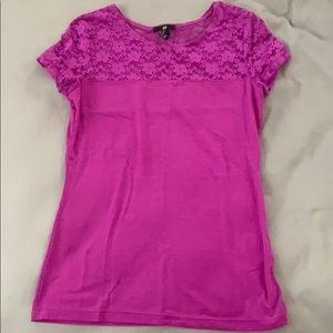 Bright purple tee with lace shoulder